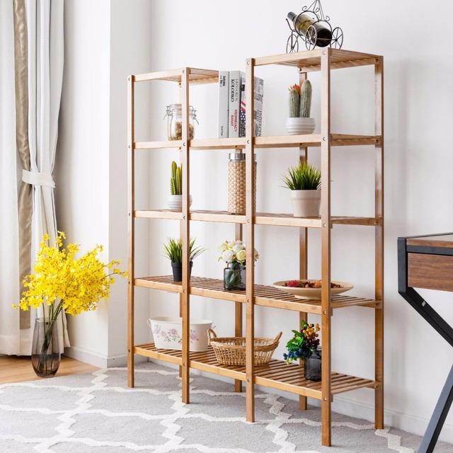 Multifunctional Bamboo Bookshelf Bookcase Flower Plant Stand Display Storage Rack Unit Closet Home Furniture HW57411 1