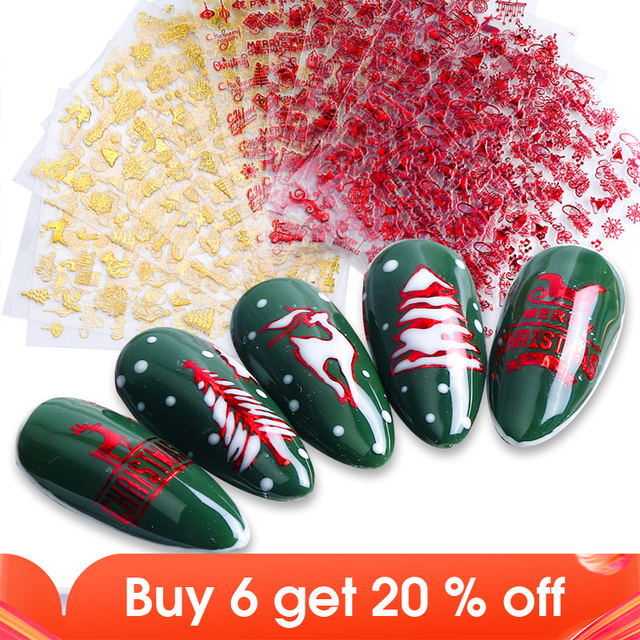 1 шт. стикер для ногтей Снежинка олень Снеговик 3D Слайдеры для ногтей рождественские буквы дизайн маникюрные красные Золотые декоративные наконечники для ногтей, для маникюра, для ногтей, для украшения, для детей