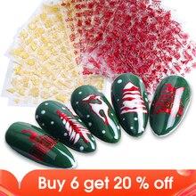 1pcs Nail Sticker Snowflake Elk Snowman 3D Sliders For Nails Christmas Letters Design Manicure Red Gold Decor Tips JISTZG041 049