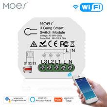 Mini bricolage WiFi commutateur de lumière intelligente 3 Gang 1/2 voies Module vie intelligente/Tuya App contrôle fonctionne avec Amazon Alexa et Google Home