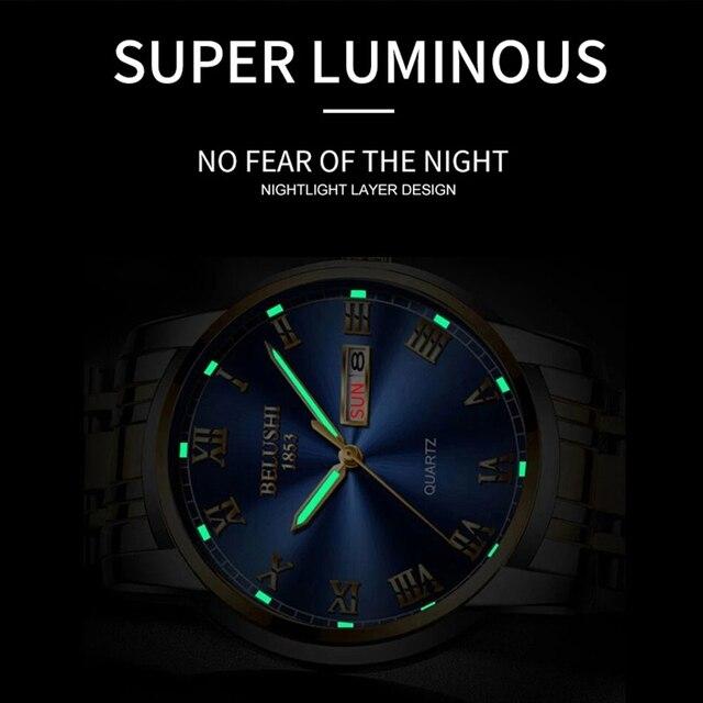 BELUSHI Business Mens Watches Famous Brand Luxury Big Dial Male Watch Waterproof Quartz Gold Watch Men montre homme 2021 3