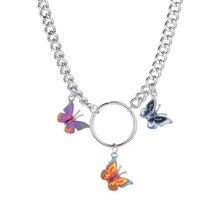 2020 chica novia señora feminity Cool Metal grueso cadena clavícula cadena Color Retro mariposa colgante collar Mujer
