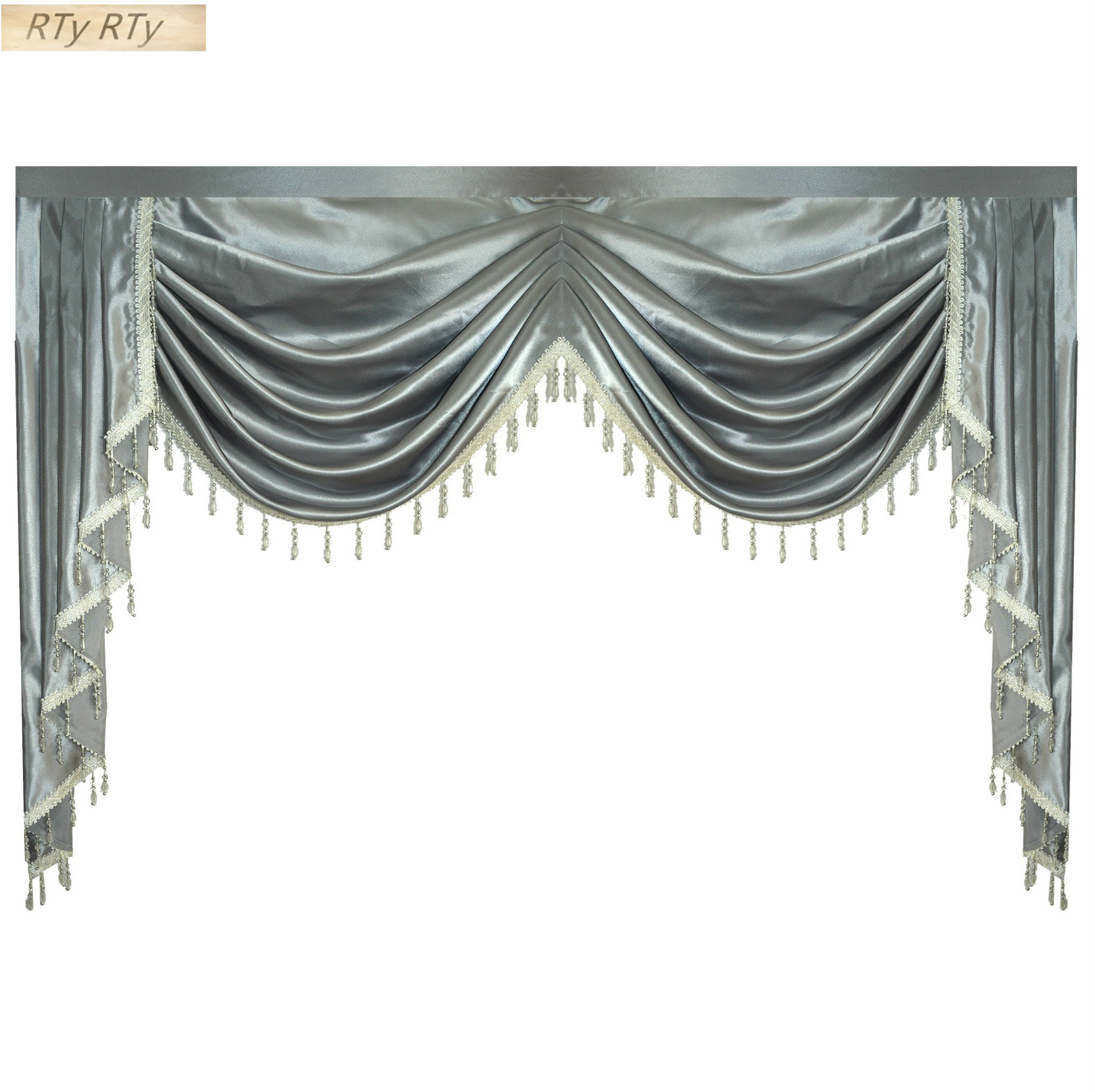 US $35.0 50% OFF|Valance Pure Grey Luxury Curtains for Living Room Window  Swag Curtains for Bedroom for Kitchen on AliExpress