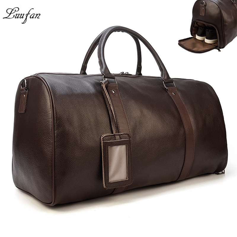 Men Travel Bag Soft Genuine Leather Big Travel Duffel Overnight Large Capacity Black Business Luggage Weekend Bags Male Handbag