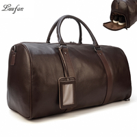 Men Travel Bag Soft Genuine Leather Big Travel Duffel Overnight Large Capacity Black Carry On Luggage Weekend Bags male Handbag