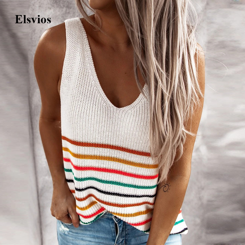Sexy V-Neck Crochet Knit Shirts Blusa Casual Colorful Striped Blouse Shirt Women Summer Sleeveless Tank Tops Clothes Streetwear