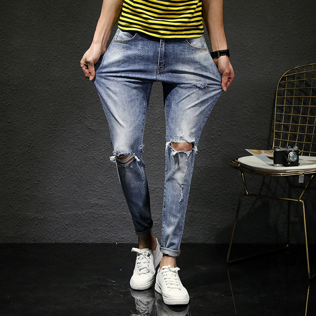 SAGACE Autumn And Winter Men's Micro-elastic Slim Hole Small Feet Denim Trousers Breathable Loose Hole Pocket Jeans Men