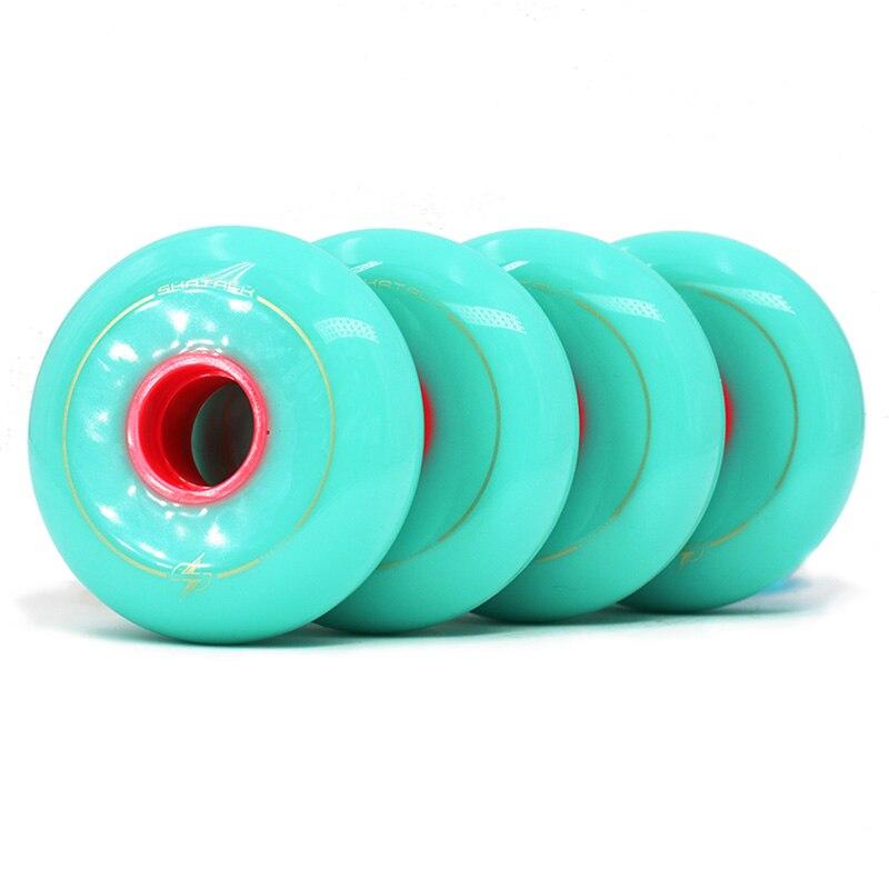 83A Turquoise Skate Roller Wheel Skate Wheels Flat Flower Figure High Strength Inline Skate Wheels Scroll Wheel 64/68/72/76/80MM