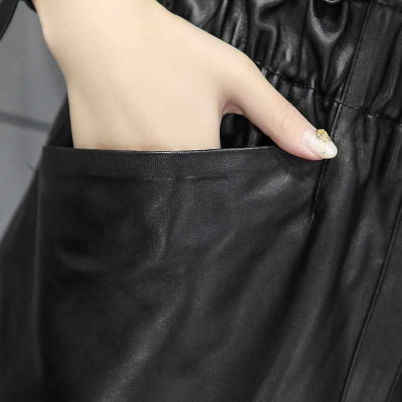 2020 novo outono inverno couro genuíno mini saias mulheres sexy solto couro de ovelha harajuku saias femininas de alta qualidade streetwear