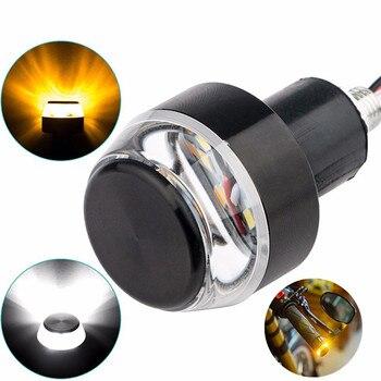 2 luces traseras de señal de giro para manillar de motocicleta, luz de curva, lámpara con tornillo, lámpara para motocicleta duradera de 12V, luz indicadora LED de dirección