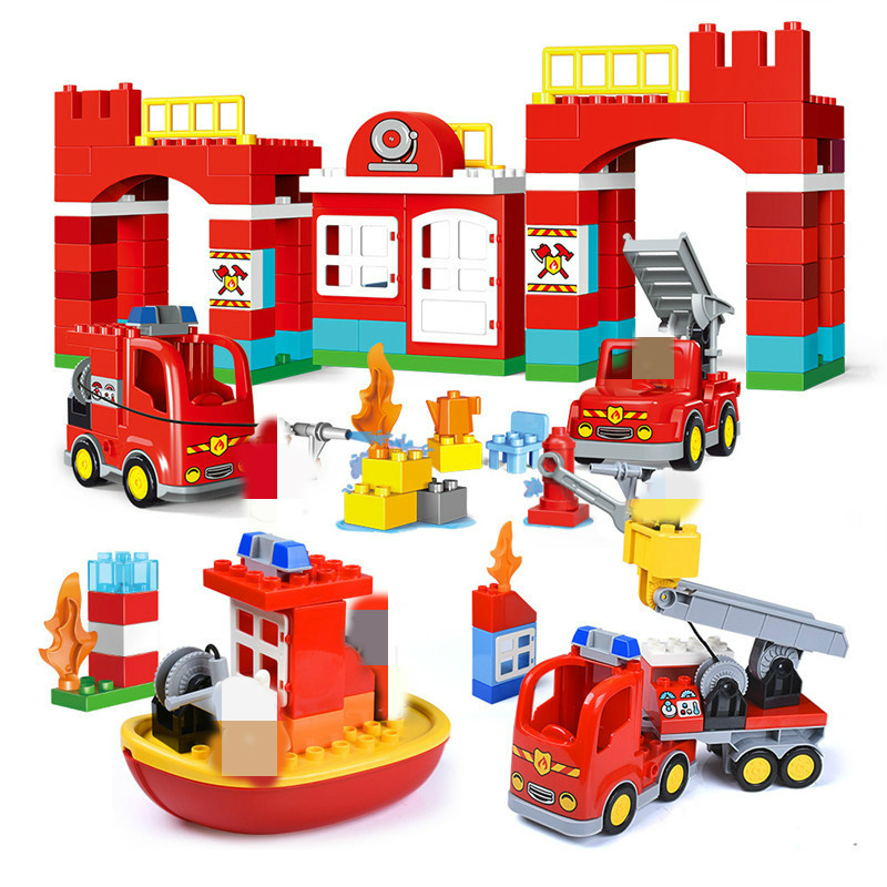 DIY Big Size City Fire Department Firemen Building Blocks Compatible With Leduo Big Block  Bricks Hobbies Toys For Children