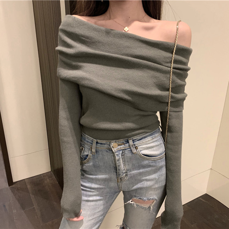 Women Solid Full Sleeve Slash Neck Sweaters Pullovers Girls Tops Off-shoulder Soft Pullover Sweater For Female Autumn KK5550