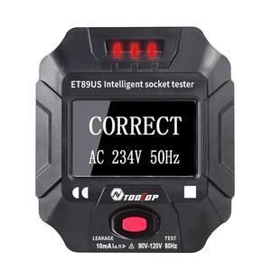 Image 1 - TOOLTOP ET89 détecteur de prise Portable affichage numérique testeur de prise électrique testeur de câblage de fréquence de tension Test RCD ue/US