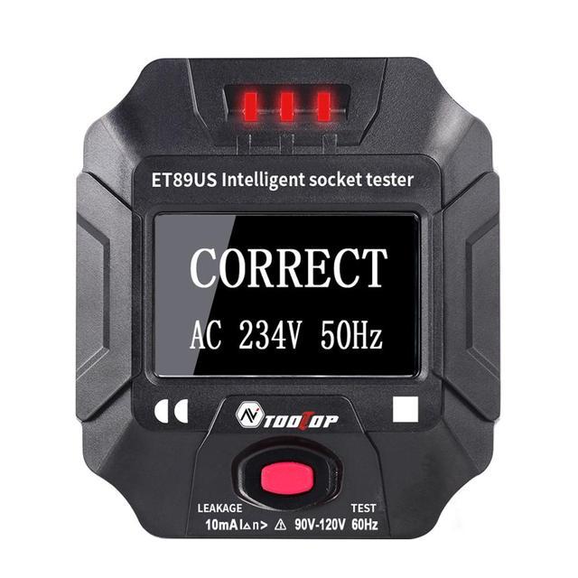 TOOLTOP ET89 détecteur de prise Portable affichage numérique testeur de prise électrique testeur de câblage de fréquence de tension Test RCD ue/US