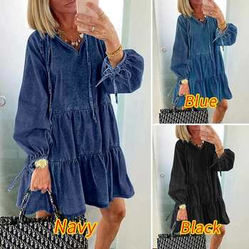 Mini Dress 2020 VONDA Women Sexy V Neck Long Lantern Sleeve Lace Up Denim Dresses Casual Ruffled Hem Party Robe Femme Vestidos vonda summer dress 2020 women sexy ruffled neck sleeveless tank mini dresses plus size bohemian party robe femme vestidos