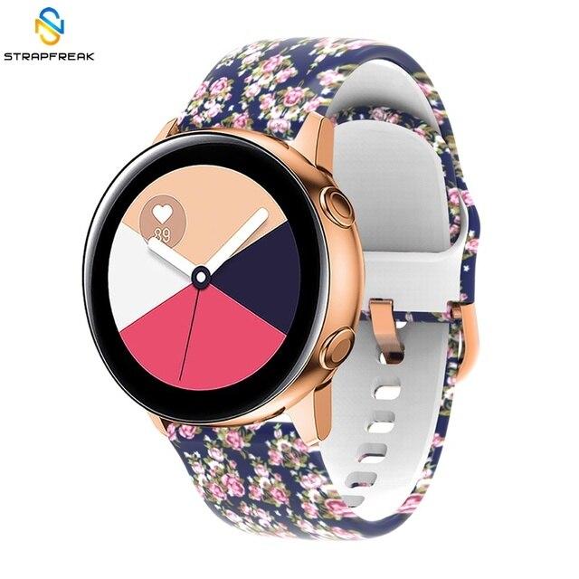 Sangles pour Samsung Galaxy montre Active 42mm vitesse Sport S2 Garmin Amazfit Bracelet bande sangle Correa 20mm impression Silicone ceinture
