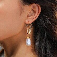 Natural Pearl Earrings Gold Alloy Shell Earrings C-Shaped Hook