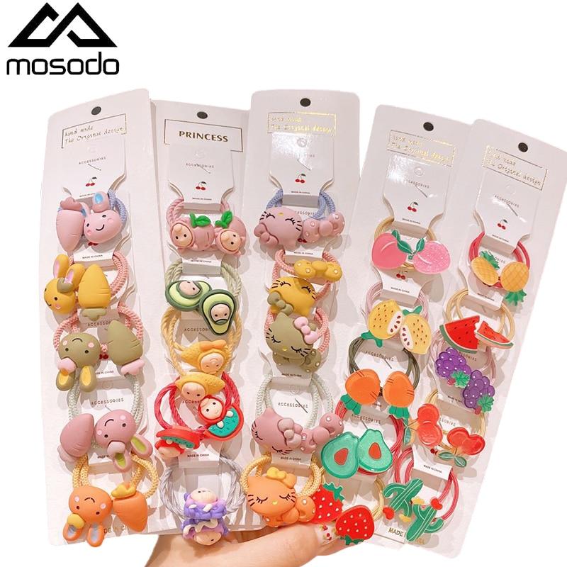 Mosodo Rubber Band Cute Headdress Little Girl Cartoon Rubber Band Kid Headband Flower Hairband Children Hair Accessories 6
