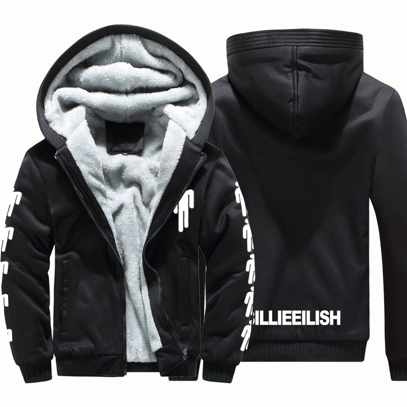 Thicken Billie Eilish Fashion Brand Sweatshirts Mens 2019 Winter Thicken Hoodie Men Hoodies Sweatshirt Men Hip Hop Zipper Coats