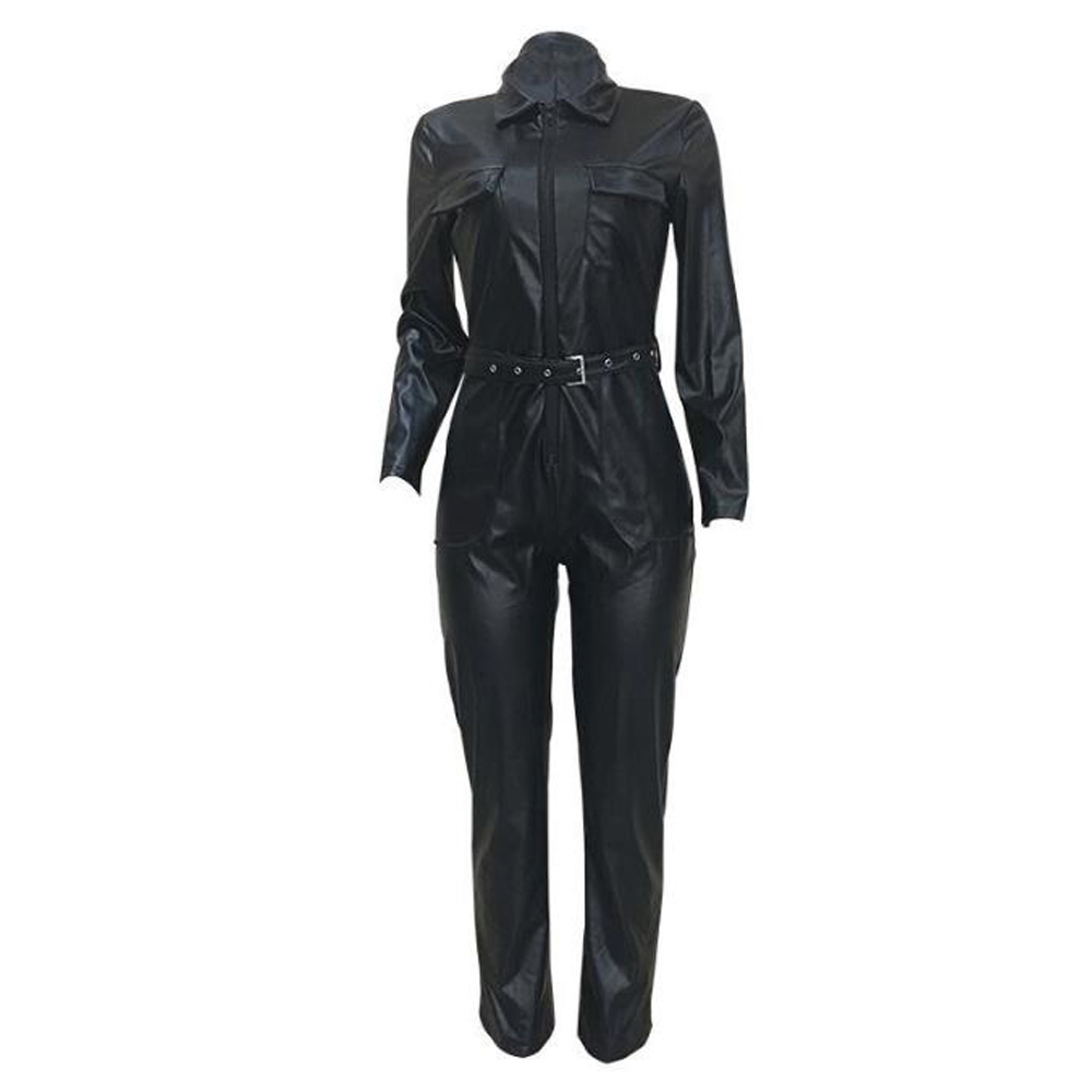 Black Long Sleeve Rompers Womens Jumpsuit Faux Leather Women Clothes Party Night Clubwear PU Leather Bodycon Jumpsuits Overalls