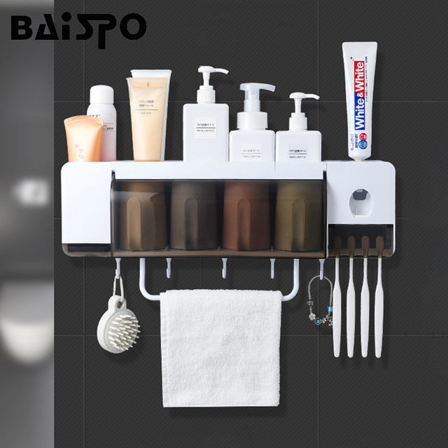 BAISPO Wall Mount Dust proof Toothbrush Holder With Cups Automatic Toothpaste Squeezer Dispenser Bathroom Accessories Sets