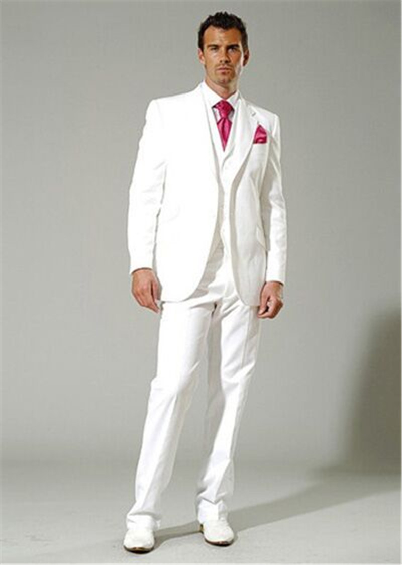 Bridegroom White Wedding Tuxedos Retro Notched Lapel Three Piece Men Party Suits Formal Banquet Suit Custom (Jacket+Pants+Vest)