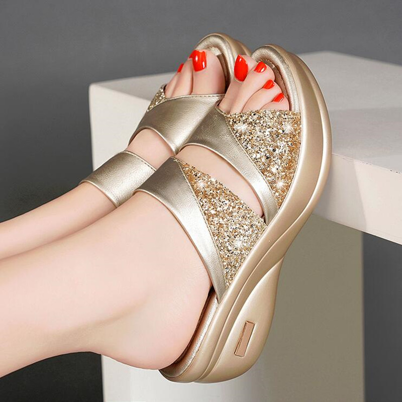 Spring Brand Bling Slipper Woman Shoes Ladies PU Leather Wedges Flat Shoes Female Casual Slingbacks Sandals Comfortable Platform 3