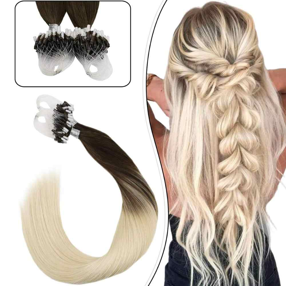 Ugeat Pre-bonded Hair Extensions Human Hair Remy Brazilian Hair Extensions Balayage Ombre Color #2/60 Micro Link Hair 50g/50s