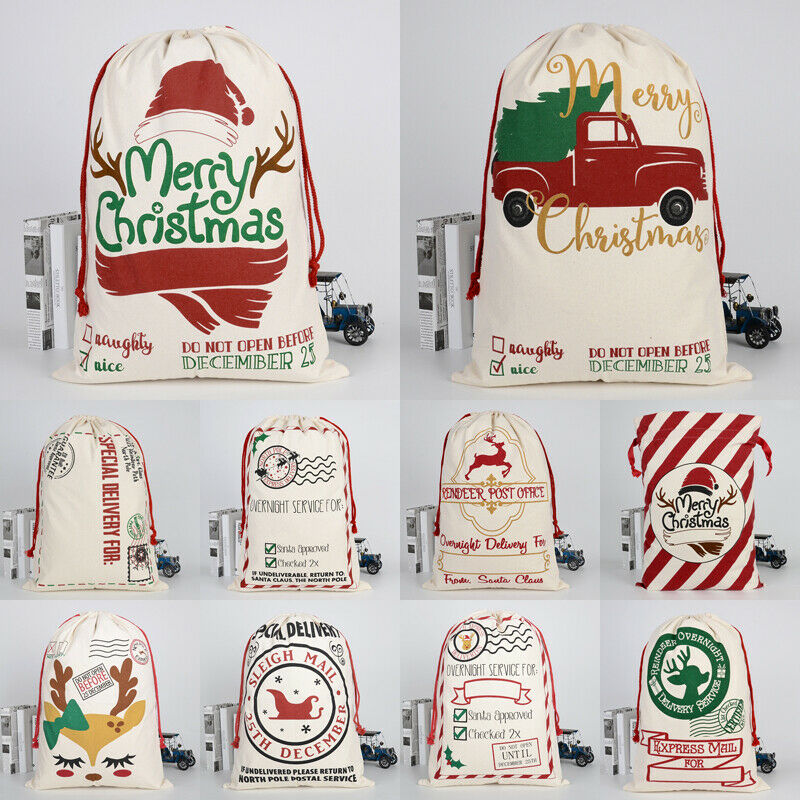 20x28 Jumbo Canvas Christmas Bags Cotton Burlap Cartoon Reindeer Wavy Letter Print Santa Sack Xmas Candy Cookie Gift Storage Bag