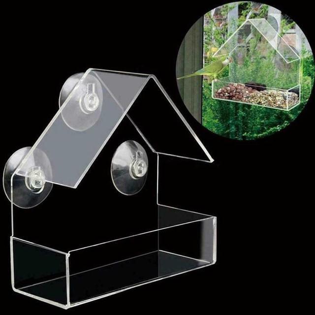 Transparent acrylic bird feeder parrot fountain outdoor bird feeder on glass Sucker feed bird pet feeder 30N29 3