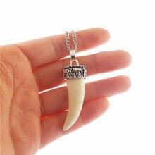 Джули Wang 2 шт Искусственный зуб волка Спайк Кулон для Для мужчин Для женщин Цепочки и ожерелья Ювелирная цепочка из сплава Клык зуб амулет подвески