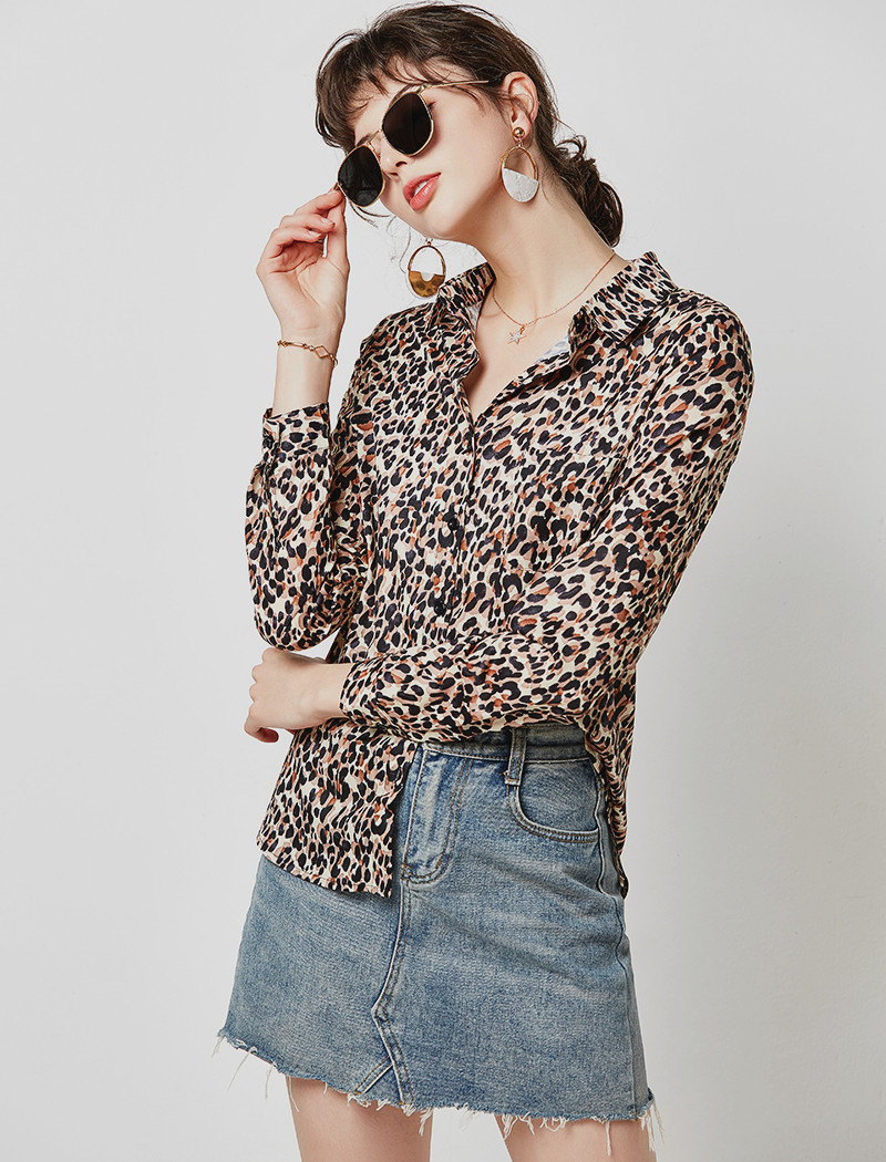 Vintage Leopard Print Blouse Women Casual Shirts 19 Loose Long Sleeve Turn Down Collar Office Shirt Tunic Plus Size Hunt Femme 10