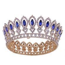 цена на Baroque Queen King Bride Tiara Crown Crystal Women Headpiece Bridal  Headdress Wedding Headwear Hair Jewelry Accessories