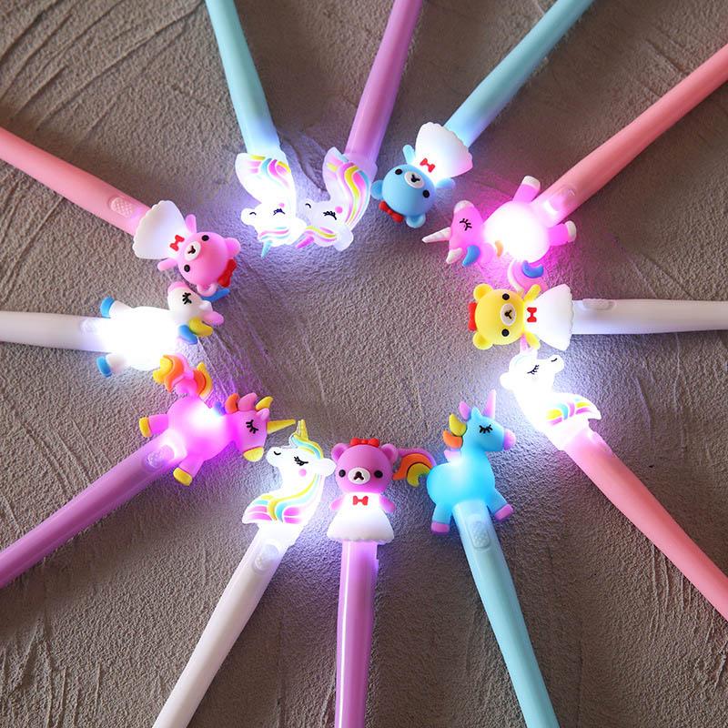 4Pcs  Kawaii Unicorn Bear Pony Pen Cute LED Light Gel Pen Candy Colored Neutral Pen For Kids Gifts School Office Stationery