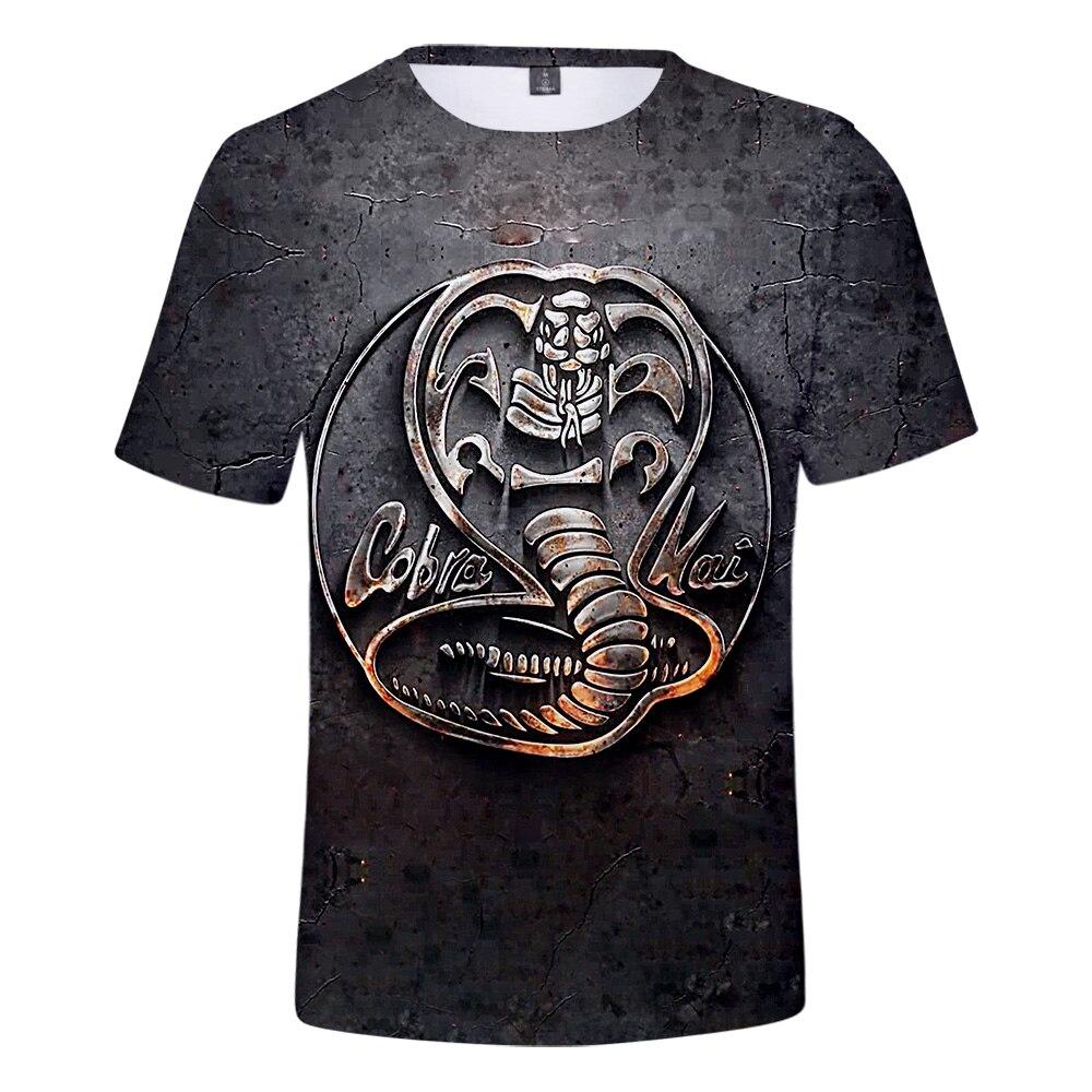 Casual cobra kai adequado popular confortável cobra kai moda verão 3d t camisa de manga curta meninas meninos t camisa masculina