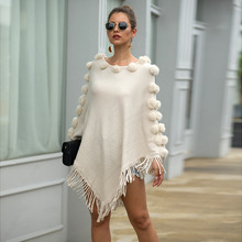 цена на Autumn Winter Women's Sweater Knitted Pullover Sweaters Fringed Cloak Shawl Hair Ball Round Neck Solid Color Sweater Women