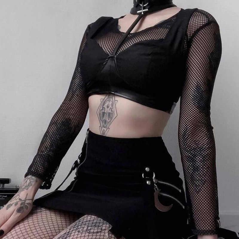 InsGoth เซ็กซี่ตาข่ายดูผ่าน Crop Tops ผู้หญิงโกธิค Streetwear Bodycon สีดำ Fishnet หญิงสั้นเสื้อยืด