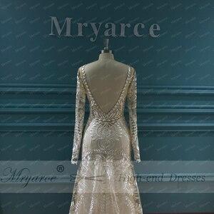 Image 5 - Mryarce vestido de noiva boho chique, moderno, único, vestido de noiva, com renda, mangas compridas, boêmio