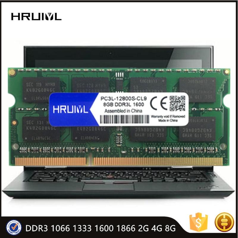 HRUIYL RAM 2GB 4GB 8GB RAM DDR3 1066 1333 1600 1866MHZ SO-DIMM Laptop Memoria Stick High Performance Notebook Original Chip