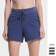Women Sports Shorts with Drawstring High Waist Short Pants Fitness with Pockets Mujer Workout Jogging Shorts navy random floral print back zipper high waist shorts with pockets