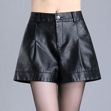 Women High Waist Loose Casual Black PU Leather Wide Leg Shorts Office Lady Plus Size Streetwear Hip Hop A-line Leather Shorts(China)