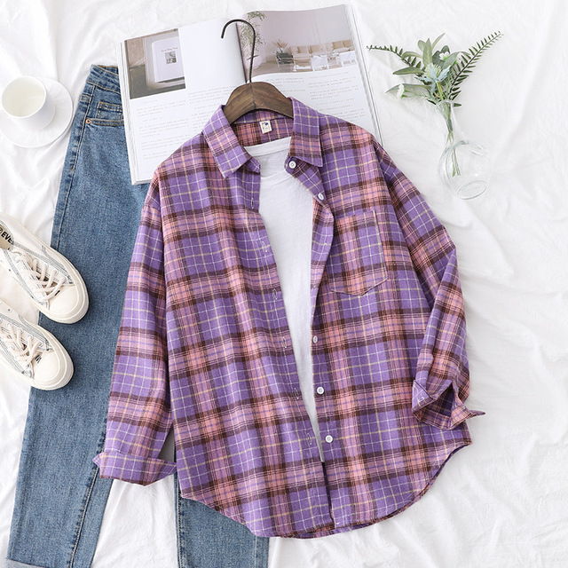Autumn Plaid Shirts Womens Blouses And Tops Long Sleeve Loose Checked Female Clothes Outwear Winter