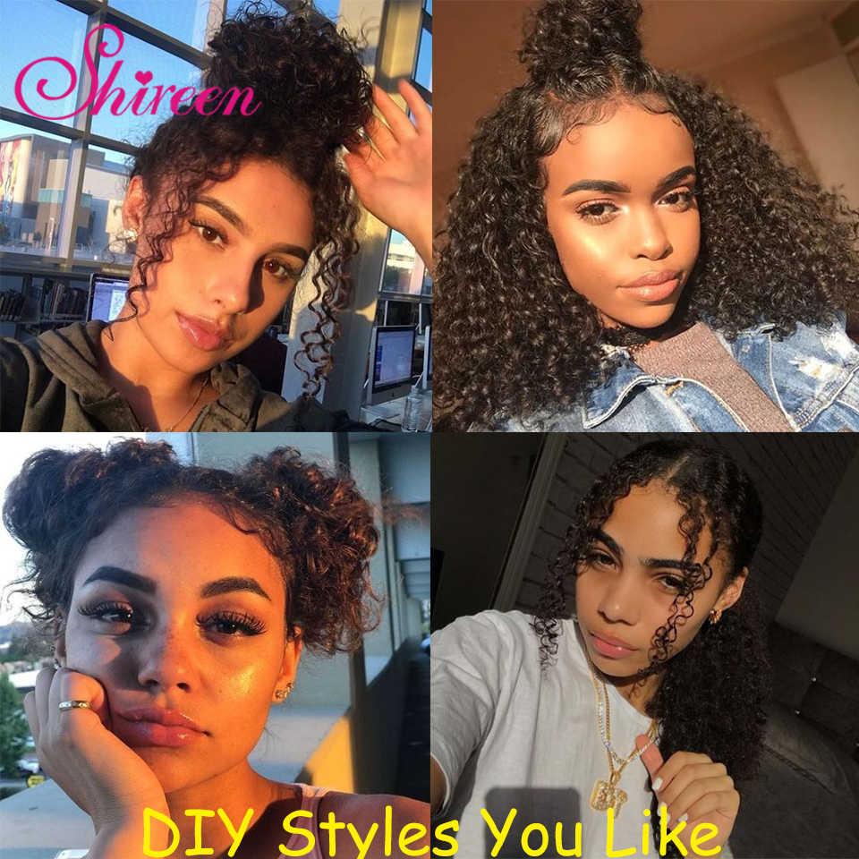 150% corto Bob 13X4 rizado de extremo completo de encaje frontal pelucas de cabello humano para mujeres negras Pre desplumado pelucas frontales de encaje Remy brasileño