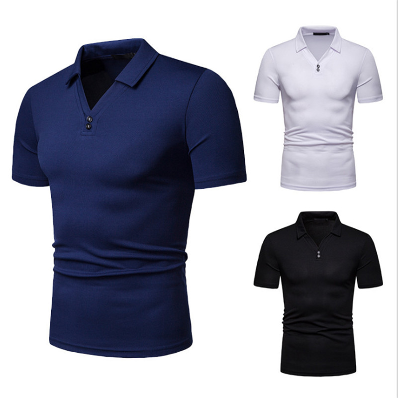 Men's Short Sleeve Loose Solid Color Pit Men's   POLO   Shirt Fashion Wild Lapel Short Sleeve   POLO