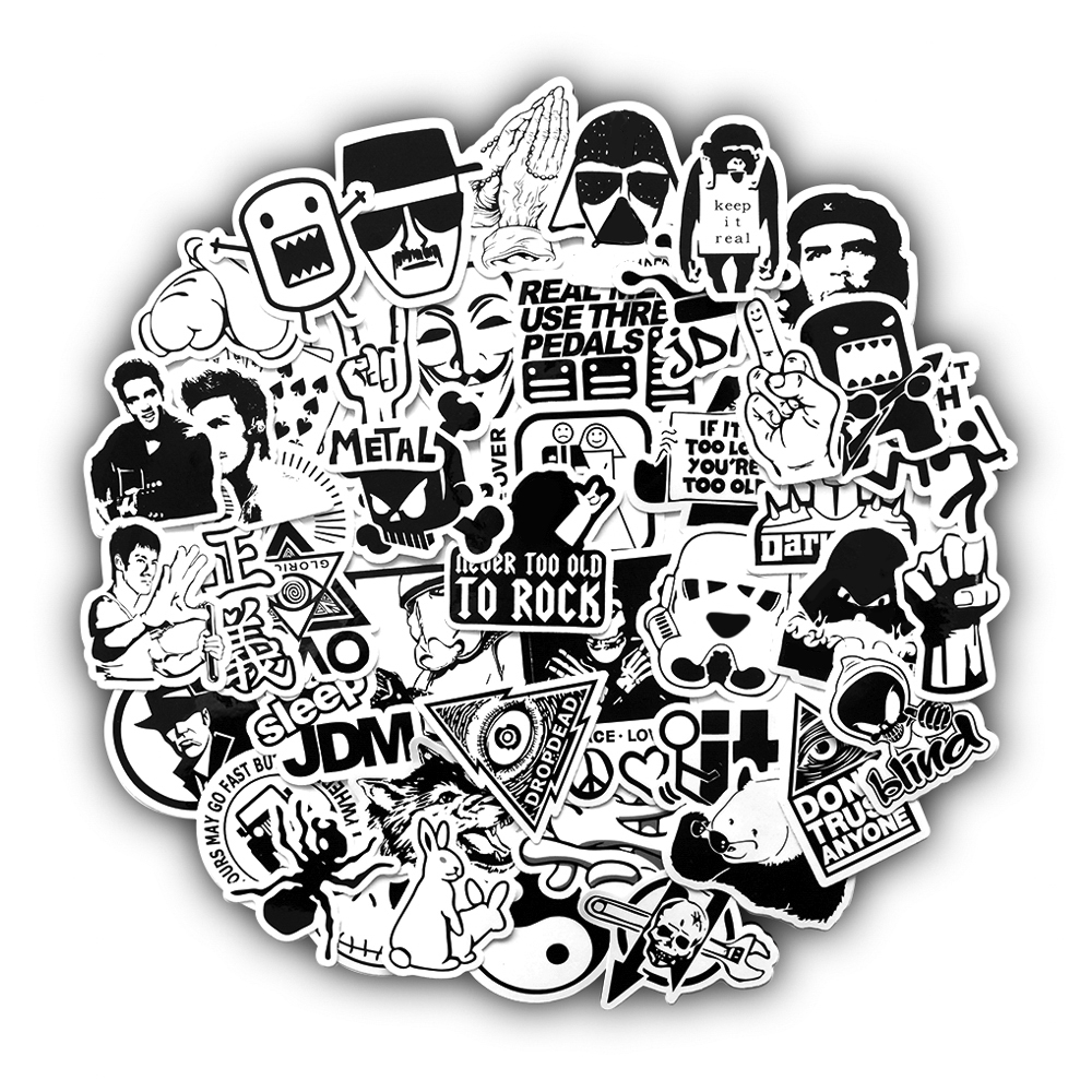 50 pcs Black and White Random Cartoon PVC Toys Cool Stickers For Kids Children Luggage Notebook Laptop Sticker Bomb Car-Styling(China)