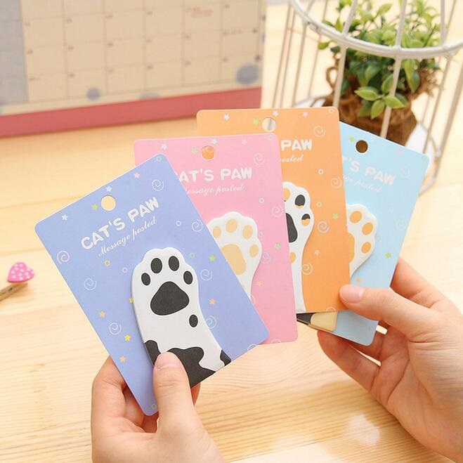 1packs/lot Cat Claw Shape Notes Four Random Notepad Cute Stationary Creativity Sticky Notes Kawaii To Do List