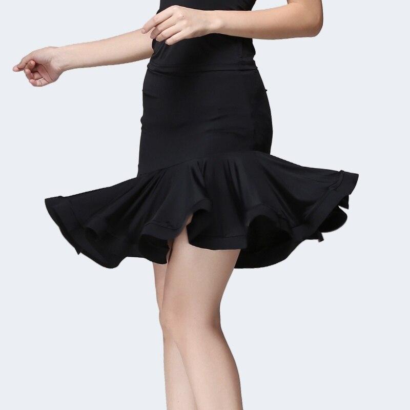 Women Latin Salsa Tango Rumba Cha Cha Dance Dress Flounce Frilled Hem Skirt Asymmetric Ballroom Dancewear 903-B257