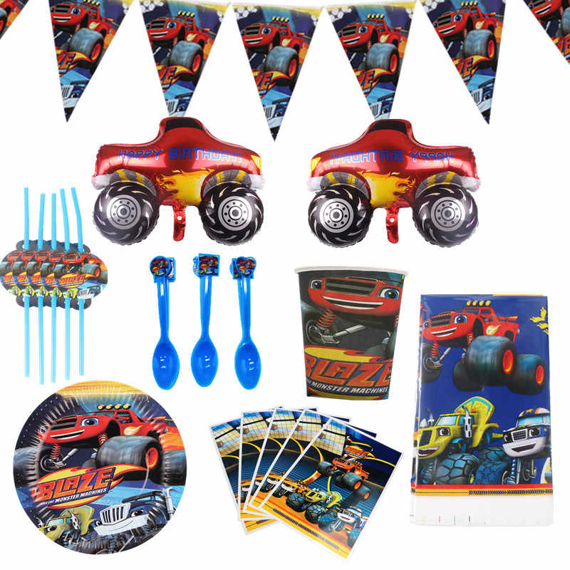 Blaze En De Monster Machines Feestartikelen Wegwerp Servies Papier Plaat Stro Cup Verjaardag Ballon Baby Shower