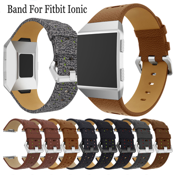 Genuine Leather Watchband Wristband Replacement Watch Strap For Fitbit Ionic Smart Watch Band Accessories Bracelet Adjustable new fashion watchband replacement metal alloy watch strap for fitbit blaze smart watch band with case luxury bracelet wristband