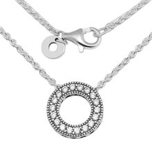 Clear CZ Hearts Small Hollow Round Pendant Necklaces for Women 100% 925 Sterling Silver Chain Necklaces Jewelry Choker Necklace(China)